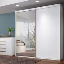 Guarda Roupa Casal 2 Portas de Correr com Espelho Magnific Espresso Móveis Branco -