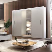 Guarda Roupa Casal 3 Espelhos 3 Portas Carina Espresso Móveis Branco -