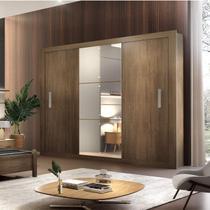 Guarda Roupa Casal 3 Espelhos 3 Portas Carina Espresso Móveis Café -