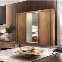 Guarda Roupa Casal 3 Espelhos 3 Portas Carina Espresso Móveis Imbuia -