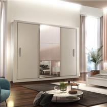 Guarda Roupa Casal 3 Espelhos 3 Portas de Correr 4 Gavetas Gênesis Siena Móveis Branco -