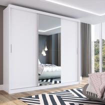 Guarda Roupa Casal 3 Portas 1 Espelho 100% MDF London Yescasa Branco -