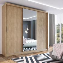 Guarda Roupa Casal 3 Portas 1 Espelho 100% MDF London Yescasa Nogal -