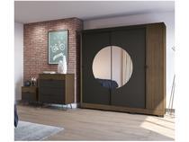 Guarda-roupa Casal 3 Portas 3 Gavetas Kappesberg - PO702-P7 com Espelho