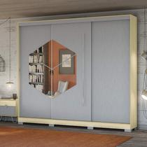 Guarda Roupa Casal 3 Portas 4 Gavetas Van Gogh Pop Kappesberg Pine/Cinza -