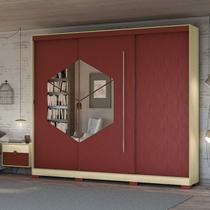 Guarda Roupa Casal 3 Portas 4 Gavetas Van Gogh Pop Kappesberg Pine/Marsala -