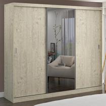 Guarda-Roupa Casal 3 Portas com 1 Espelho 100% Mdf 1903e1 Marfim Areia - Foscarini -
