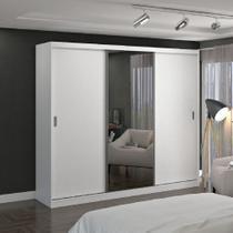 Guarda-Roupa casal 3 Portas com 1 Espelho 100% MDF Branco Foscarini -