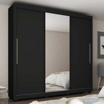 Guarda Roupa Casal 3 Portas com 1 Porta Espelho Royale Preto/Madeirado - Gelius -