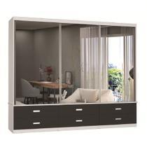 Guarda-Roupa Casal 3 Portas com 3 Espelhos 100% Mdf 1397e3 Branco/Café - Foscarini -