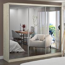 Guarda-Roupa Casal 3 Portas com 3 Espelhos 100% Mdf 7318e3 Marfim Areia - Foscarini -