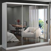 Guarda-Roupa Casal 3 Portas com 3 Espelhos 100% Mdf 7320g4e3 Branco - Foscarini -