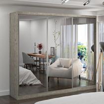 Guarda-Roupa Casal 3 Portas com 3 Espelhos 100% MDF Marfim/Areia Foscarini -
