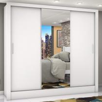 Guarda Roupa Casal 3 Portas com Espelho Porto Plus Siena Móveis Branco -