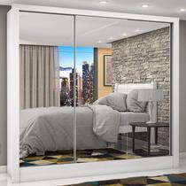 Guarda Roupa Casal 3 Portas com Espelho Porto Premium Siena Móveis Branco -