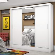 Guarda Roupa Casal 3 Portas com Espelho Santiago Plus Espresso Móveis Branco -