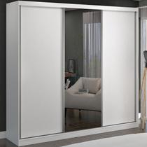 Guarda-roupa Casal 3 Portas De Correr 1 Espelho 100% Mdf 8804e1 Branco - Foscarini -