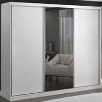 Guarda-roupa Casal 3 Portas De Correr 1 Espelho 100% Mdf 8806e1 Branco - Foscarini -