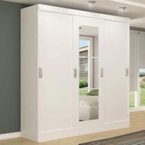Guarda-roupa casal 3 portas de correr 100% mdf em. com espelho 4228-1 branco - maxel - Industria E Comercio De Moveis Marx Ltda