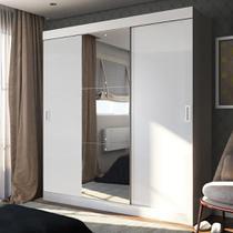 Guarda-Roupa Casal 3 Portas de Correr 100% Mdf Emp com Espelho Branco - Pnr Móveis -