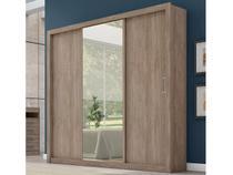 Guarda-Roupa Casal 3 Portas de Correr 2 Gavetas  - Demóbile Residence com Espelho
