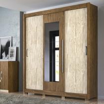 Guarda-Roupa Casal 3 Portas de Correr C/ Espelho Montreal - Castanho Wood / Avelã - Flex - Moval -