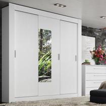 Guarda-Roupa Casal 3 Portas de Correr C/ Espelho Ômega - Branco Sensitive - Thb Móveis -