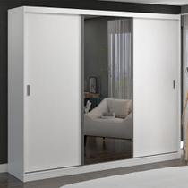 Guarda-Roupa Casal 3 Portas de Correr com 1 Espelho 100% Mdf 1903e1 Branco - Foscarini -