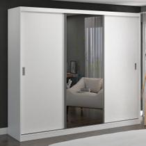 Guarda-Roupa Casal 3 Portas de Correr com 1 Espelho 100% Mdf 1905e1 Branco - Foscarini -