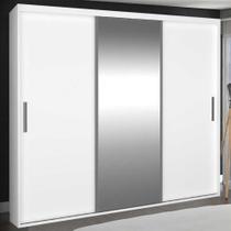 Guarda-Roupa Casal 3 Portas de Correr com 1 Espelho 100% Mdf 1973e1 Branco - Foscarini -