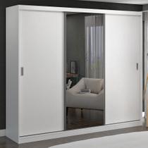 Guarda-Roupa Casal 3 Portas de Correr com 1 Espelho 100% Mdf 7318e1 Branco - Foscarini -