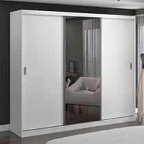 Guarda-Roupa Casal 3 Portas de Correr com 1 Espelho 100% Mdf 7320g4e1 Branco - Foscarini -