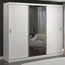 Guarda-Roupa Casal 3 Portas de Correr com 1 Espelho 100% Mdf 774e1 Branco - Foscarini -