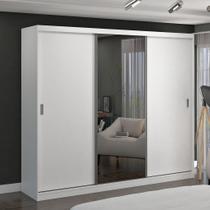 Guarda-Roupa casal 3 Portas de Correr com 1 Espelho 100% MDF Branco Foscarini -