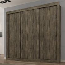 Guarda-Roupa Casal 3 Portas de Correr Smart - Nogal Tex - Maxel -