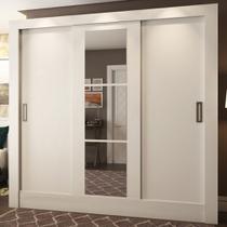 Guarda-roupa Casal 3 Portas De Correr Versa Com Espelho 40440 Branco - Pnr Móveis -