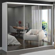 Guarda-Roupa Casal 3 Portas de Espelho 100% Mdf 1979e3 Branco - Foscarini -