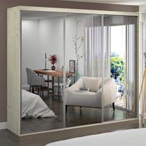 Guarda-Roupa Casal 3 Portas de Espelho 100% Mdf 1979e3 Marfim Areia - Foscarini -