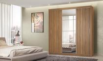 Guarda-roupa Casal 3 Portas Deslizantes  Residence II Espelho com Moldura Alumínio - Demóbile -