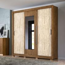 Guarda Roupa Casal 3 Portas e 3 Gavetas Com Espelho Castanho Avela Wood - Montreal Plus/Moval - Moval Móveis