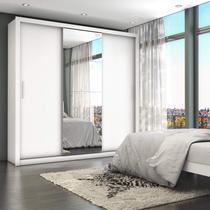 Guarda Roupa Casal 4 Espelhos 3 Portas de Correr 4 Gavetas Max Plus Espresso Móveis Branco -