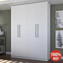 Guarda-roupa casal 4 portas 2 gavetas 100% mdf 974p branco - foscarini -