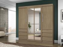 Guarda-roupa Casal 4 Portas 6 Gavetas  - Araplac Turim com Espelho