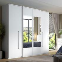 Guarda-Roupa Casal 4 Portas C/ Espelho 2 Gavetas Splendore - Branco - THB Móveis -