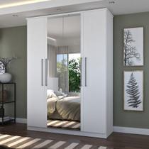 Guarda-Roupa Casal 4 Portas Com 2 Espelhos 100% MDF Branco Foscarini -