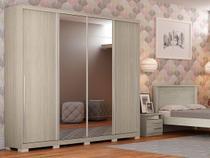 Guarda-roupa Casal 4 Portas de Correr 6 Gavetas - Kappesberg Monte Carlo com Espelho