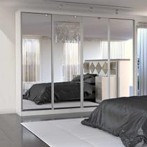 Guarda-Roupa Casal 4 Portas de Espelho 100% Mdf 794 Branco - Foscarini -
