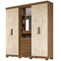Guarda Roupa Casal 4 Portas e Espelho Eldorado Castanho/Avelã Wood - Moval -