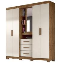 Guarda Roupa Casal 4 Portas e Espelho Eldorado Castanho Wood/Baunilha - Moval -