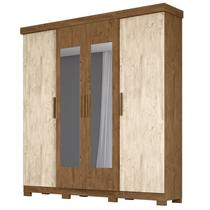 Guarda Roupa Casal 4 Portas e Espelho Ouro Preto Castanho/Avelã Wood - Moval -
